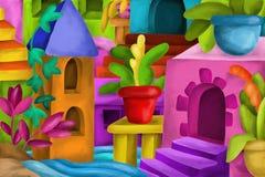 Bakgrund med färgrika fantasikonstruktioner Royaltyfri Fotografi