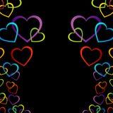 Bakgrund med färgrika hjärtor Royaltyfria Bilder