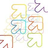 Bakgrund med färgrika pilar som diagonalt pekar Fotografering för Bildbyråer