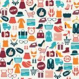 Bakgrund med färgrika shoppingsymboler Arkivbilder