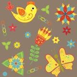 Bakgrund med fåglar, fjärilar och blommor Vektor Illustrationer