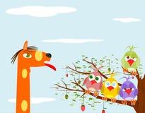 Bakgrund med fåglar och giraffet royaltyfri illustrationer