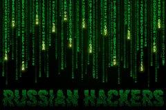 Bakgrund med fallande cyrillic symboler och inskriftryssen hacker Royaltyfri Bild