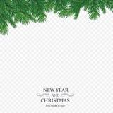 Bakgrund med filialer för vektorjulträd och utrymme för text Realistisk gran-träd gräns, ram som isoleras på vit vektor illustrationer