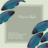 Bakgrund med fiskar Havs- restaurangmeny Royaltyfri Foto