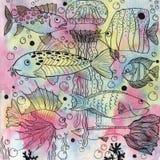 Bakgrund med fiskar och manet stock illustrationer
