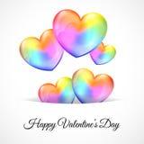 Bakgrund med flerfärgade hjärtaballonger stock illustrationer