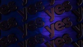Bakgrund med flyttningord 'ja ', djur Abstrakt animering med tredimensionella metallord ja på svart stock illustrationer