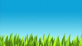 Bakgrund med frodigt grönt gräs och blå himmel stock illustrationer