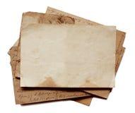 Bakgrund med gamla legitimationshandlingar och bokstäver Arkivfoton
