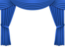 Bakgrund med gardiner och lambrequin för sammet för lyxblått siden- Royaltyfri Fotografi