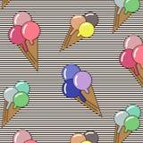 Bakgrund med glass och konfektar Ideal för utskrift på tygpappers- eller restbokning Gullig tecknad filmgelato Arkivbild