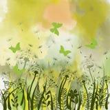 Bakgrund med grönt gräs, lösa örter, maskrosor royaltyfri illustrationer