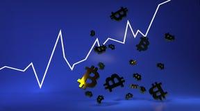Bakgrund med guld- bitcoinsymbol framförande 3d stock illustrationer