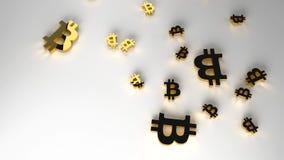 Bakgrund med guld- bitcoinsymbol framförande 3d vektor illustrationer
