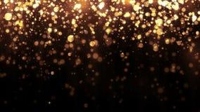 Bakgrund med guld- blänker fallande partiklar Härlig feriebakgrundsmall för högvärdig design Magisk guld- partikel stock illustrationer