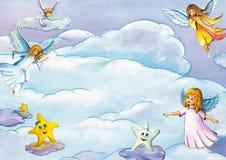 Bakgrund med gulliga flygaänglar, stjärnor och moln Kort- eller inbjudanmall royaltyfri illustrationer