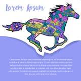 Bakgrund med hästen på papper och ställe för text Royaltyfria Bilder