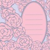 Bakgrund med hand drog försiktiga rosor med utrymme för din text Arkivbild