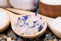 Bakgrund med havet som är salt med beståndsdelar av en blå blomma, i en träsked royaltyfri fotografi