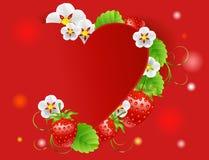 Bakgrund med hjärta och jordgubbar Stock Illustrationer