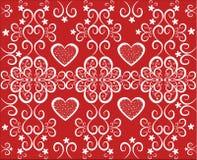 Bakgrund med hjärtor. Rött och vit Arkivbilder