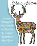 Bakgrund med hjortar på papper och ställe för text Fotografering för Bildbyråer