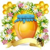 Bakgrund med honungjaren Arkivfoto