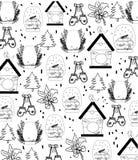 Bakgrund med julattribut vektor illustrationer