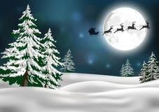 Bakgrund med jultomten släde Arkivbilder
