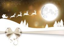 Bakgrund med jultomten släde Royaltyfria Bilder