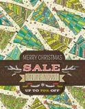 Bakgrund med julträd och etikett med sal Royaltyfri Fotografi