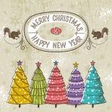 Bakgrund med julträd och etikett med tex vektor illustrationer