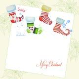 Bakgrund med julvattenfärgen socks-04 Royaltyfri Bild