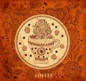 Bakgrund med kaffe kuper Royaltyfria Foton