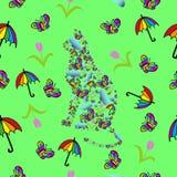 Bakgrund med katten och fjärilar Royaltyfri Bild