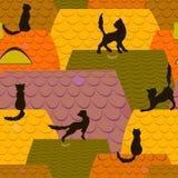 Bakgrund med katter på taken Royaltyfri Bild
