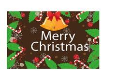 Bakgrund med klockor för godisrottingar och jul Royaltyfria Bilder