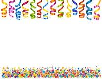 Bakgrund med konfettier och slingrande Arkivfoton