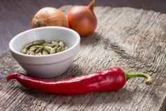 Bakgrund med kryddor och grönsaker på planka Arkivfoto
