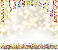 Bakgrund med ljus, snöflingor, slingrande och konfettier vektor illustrationer