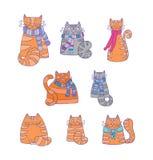 Bakgrund med lyckliga katter Royaltyfri Illustrationer