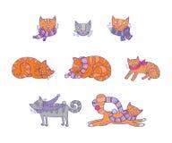 Bakgrund med lyckliga katter Stock Illustrationer
