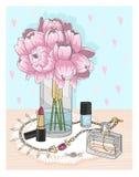Bakgrund med makeup och blommor för doft för smycken för påsesolglasögonskor Bakgrund med smycken, doft, smink Arkivbilder