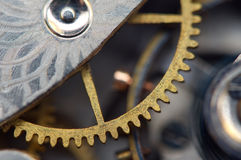 Bakgrund med metallkugghjul ett urverk, makro Arkivbild