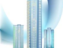 Bakgrund med moderna stadsbyggnader Arkivfoton