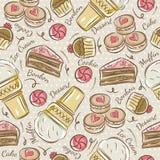 Bakgrund med muffin, glass, kakan och kakan stock illustrationer