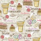 Bakgrund med muffin, glass, kakan och kakan, vektor royaltyfri illustrationer