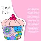 Bakgrund med muffin på papper och ställe för text Arkivbild