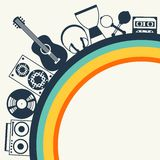 Bakgrund med musikinstrument i plan design Royaltyfria Bilder